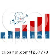 Clipart Of A Stick Businessman Holding A Thumb Up And Running On An Growth Bar Graph Royalty Free Vector Illustration