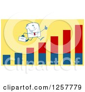 Clipart Of A Stick Businessman Holding A Thumb Up And Running On An Growth Bar Graph Over Yellow Royalty Free Vector Illustration