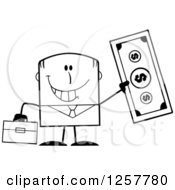 Clipart Of A Black And White Happy Businessman Holding Up A Giant Dollar Bill Royalty Free Vector Illustration