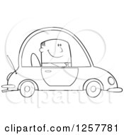 Clipart Of A Black And White Happy Business Man Commuting To Work In A Blue Car Royalty Free Vector Illustration by Hit Toon
