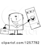Clipart Of A Black And White Happy Businessman Holding Up A Giant Duro Bill Royalty Free Vector Illustration