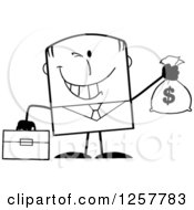 Clipart Of A Black And White Wealthy Businessman Winking And Holding A Money Bag Royalty Free Vector Illustration
