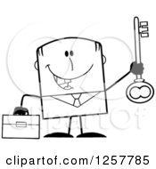 Clipart Of A Black And White Happy Businessman Holding Up A Key To Success Royalty Free Vector Illustration