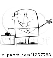 Clipart Of A Black And White Happy Businessman Waving And Holding A Briefcase Royalty Free Vector Illustration