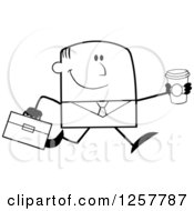 Clipart Of A Black And White Happy Businessman Running With A To Go Coffee Royalty Free Vector Illustration