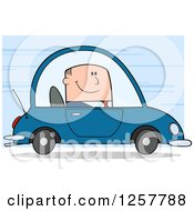 Clipart Of A Happy White Business Man Commuting To Work In A Car Over Blue Royalty Free Vector Illustration