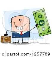 Clipart Of A Happy White Businessman Holding Up A Giant Dollar Bill Over Blue Royalty Free Vector Illustration