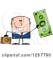 Clipart Of A Happy White Businessman Holding Up A Giant Dollar Bill Royalty Free Vector Illustration