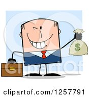 Clipart Of A Wealthy White Businessman Winking And Holding A Money Bag Over Blue Royalty Free Vector Illustration