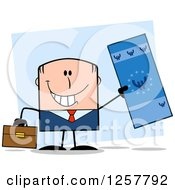Clipart Of A Happy White Businessman Holding Up A Giant Duro Bill Over Blue Royalty Free Vector Illustration