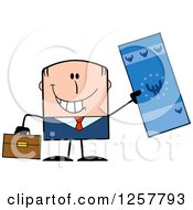 Clipart Of A Happy White Businessman Holding Up A Giant Duro Bill Royalty Free Vector Illustration
