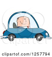 Clipart Of A Happy White Business Man Commuting To Work In A Blue Car Royalty Free Vector Illustration