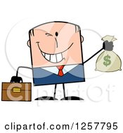Clipart Of A Wealthy White Businessman Winking And Holding A Money Bag Royalty Free Vector Illustration by Hit Toon