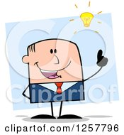 Clipart Of A White Stick Businessman With A Bright Idea Over Blue Royalty Free Vector Illustration