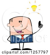 Clipart Of A White Stick Businessman With A Bright Idea Royalty Free Vector Illustration