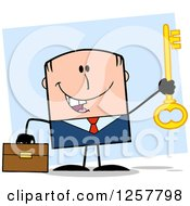 Clipart Of A Happy White Businessman Holding Up A Key To Success Over Blue Royalty Free Vector Illustration by Hit Toon