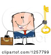 Clipart Of A Happy White Businessman Holding Up A Key To Success Royalty Free Vector Illustration