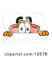 Sink Plunger Mascot Cartoon Character Peeking Over A Surface by Toons4Biz