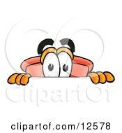 Sink Plunger Mascot Cartoon Character Peeking Over A Surface