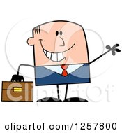 Clipart Of A Happy White Businessman Waving And Holding A Briefcase Royalty Free Vector Illustration by Hit Toon