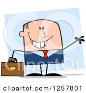 Clipart Of A Happy White Businessman Waving And Holding A Briefcase Over Blue Royalty Free Vector Illustration by Hit Toon