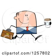 Clipart Of A Happy White Businessman Running With A To Go Coffee Royalty Free Vector Illustration