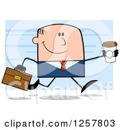 Clipart Of A Happy White Businessman Running With A To Go Coffee Over Blue Royalty Free Vector Illustration