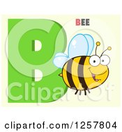 Clipart Of A Happy Bee Flying Over Letter B And Text On Green Royalty Free Vector Illustration by Hit Toon