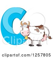 Clipart Of A Happy Cow Over Letter C Royalty Free Vector Illustration by Hit Toon