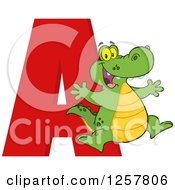 Clipart Of A Happy Alligator Jumping Over Letter A Royalty Free Vector Illustration by Hit Toon