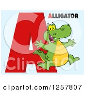 Clipart Of A Happy Alligator Jumping Over Letter A And Text On Blue Royalty Free Vector Illustration by Hit Toon