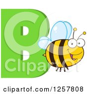 Clipart Of A Happy Bee Flying Over Letter B Royalty Free Vector Illustration by Hit Toon