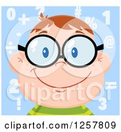 Clipart Of A Happy White School Boy Wearing Glasses Over Math Symbols Royalty Free Vector Illustration