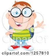 Clipart Of A Happy White School Boy Geek Wearing Glasses And Waving Royalty Free Vector Illustration by Hit Toon