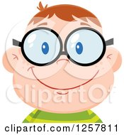Clipart Of A Happy White School Boy Geek Wearing Glasses Royalty Free Vector Illustration by Hit Toon