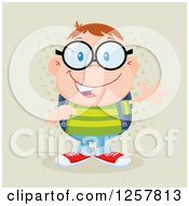 Clipart Of A Happy White School Boy Geek Wearing Glasses And Waving Over Halftone Royalty Free Vector Illustration