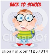Clipart Of A Happy White School Boy Geek Wearing Glasses And Waving Under Back To School Text Royalty Free Vector Illustration by Hit Toon