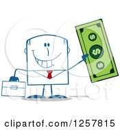 Clipart Of A Happy Businessman Holding Up A Giant Dollar Bill Royalty Free Vector Illustration