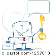 Clipart Of A Happy Businessman Holding Up A Key To Success Royalty Free Vector Illustration