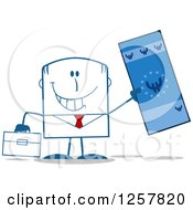 Clipart Of A Happy Businessman Holding Up A Giant Duro Bill Royalty Free Vector Illustration