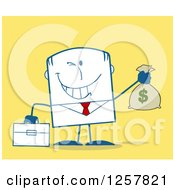 Clipart Of A Wealthy Businessman Winking And Holding A Money Bag Over Yellow Royalty Free Vector Illustration