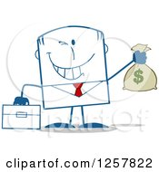Clipart Of A Wealthy Businessman Winking And Holding A Money Bag Royalty Free Vector Illustration