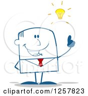 Clipart Of A Smart Businessman With A Bright Idea Royalty Free Vector Illustration