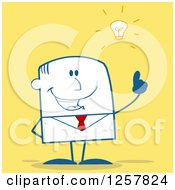 Clipart Of A Stick Businessman With A Bright Idea Over Yellow Royalty Free Vector Illustration