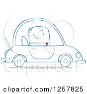 Clipart Of A Happy Business Man Commuting To Work In A Blue Car Royalty Free Vector Illustration by Hit Toon