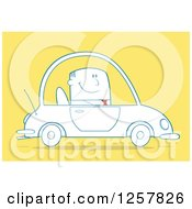 Clipart Of A Happy Business Man Commuting To Work In A Blue Car Over Yellow Royalty Free Vector Illustration by Hit Toon