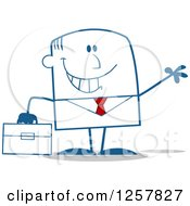 Clipart Of A Happy Businessman Waving And Holding A Briefcase Royalty Free Vector Illustration