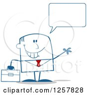 Clipart Of A Happy Talking Businessman Waving And Holding A Briefcase Royalty Free Vector Illustration