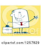 Clipart Of A Happy Businessman Waving And Holding A Briefcase Over Yellow Royalty Free Vector Illustration