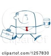 Clipart Of A Happy Businessman Running With A To Go Coffee Royalty Free Vector Illustration